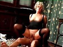 Nasty old tart Mrs Jones is passionately jumping on lover`s stiff cock.
