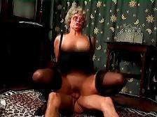 Nasty old tart Mrs Jones is passionately jumping on lover`s stiff cock.