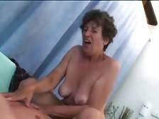 Horny aged slut is jumping on younger lover`s hard dong.