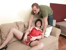 Guy joins horny granny toying her craving hairy pussy.